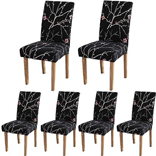 Lot de 6 housses de protection pour chaises TEERFU - En Élasthanne - Amovibles et lavables - Pour hôtel ou mariage