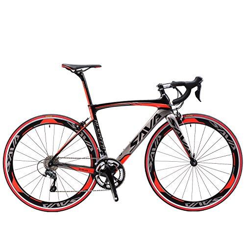 SAVADECK Warwind3.0 Bici da Strada in Carbonio 700C Bicicletta con Telaio TORAY T800 in Fibra di Carbonio e Cambio Shimano Sora R3000 18 velocità (Rosso, 54cm)