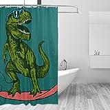 COSNUG Lustiger Cartoon-Dinosaurier-Spiel-Skateboard-Duschvorhang für Badezimmer, 152,4 x 183,9 cm, mit 12 Haken, wasserdichte Badezimmervorhänge für Mädchen & Jungen