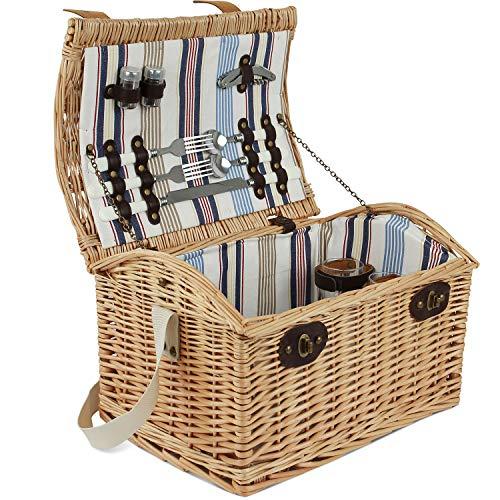 ZORMY Weiden-Picknickkorb für 2 Personen, großer Weiden-Picknickkorb mit Streifenfutter, inkl. Besteck, Gläser und Zubehör