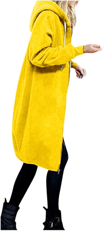 Toeava Womens Hooded Jackets Coats Cardigan Vintage Long Sleeve Drawstring Lightweight Zip-up Hoodie with Pocket