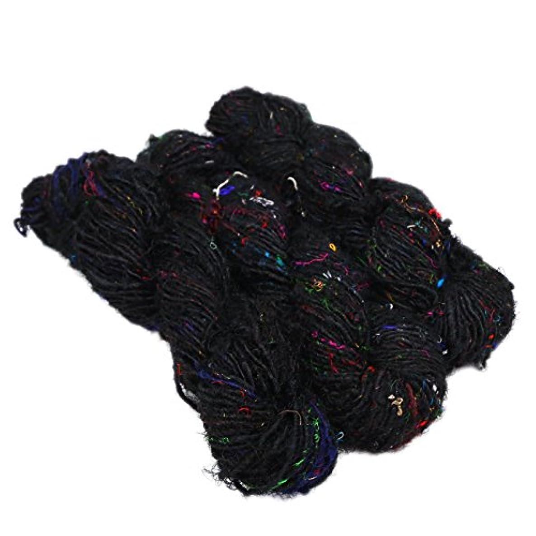 Paradise Fibers Recycled Sari Silk Yarn (Black) - 3 Skein Bundle, 50 Yards, 100 Grams per Skein