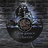 TIANZly Vinilo Vinilo Reloj de Pared Led Signo de la Paz Hippie Lámpara de Noche Hippie...