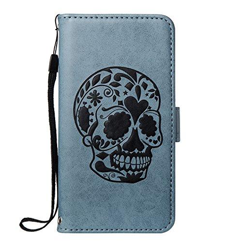 ISAKEN Compatibile con Samsung Galaxy S6 Edge Custodia Cover, Libro Flip Cover con Strap, PU Pelle Protettiva Portafoglio Case Wallet Caso con Supporto di Stand/Carte Slot/Magnetica - Cranio: Blu