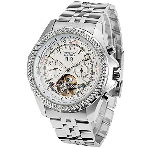 Jaragar, orologio da polso da uomo, con quadrante grande, con tre quadrante e calendario, in acciaio inox Tourbillon, orologio meccanico automatico, per uomo