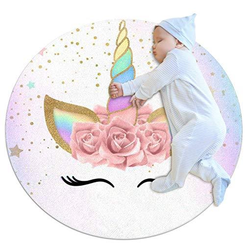 Desheze Lindo Unicornio Alfombra Redonda Alfombra Suave para Habitación Infantil Sala de Bebé Sala de Estar Cocina Sala de Juegos Sofá Cojín Alfombra para Mascotas 80x80cm