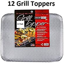 Oscarware Disposable Grill Topper, 16x12-Inch, Recyclable Aluminum (12 Pack)