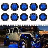 PSEQT 3 LED Round Rock Lights Car Underglow Wheel Fender Well Lighting Kit for Golf Cart Trailer Offroad Truck Ford RV UTV ATV Snowmobile (Blue, 10Pcs)