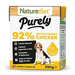 Pack of 18, 390g delicious, 100% natural, complete meals Made in Nature diet's Norfolk factory with locally sourced ingredients Eco-packed in 100% recyclable cartons 100% natural, limited ingredients. A grain and gluten free recipe Free from eggs, da...