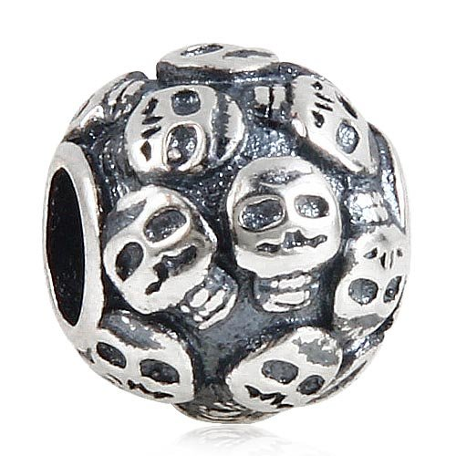 Skeleton Skull Charm 925 Sterling Silver Halloween Beads fit for Fashion Charms Bracelets