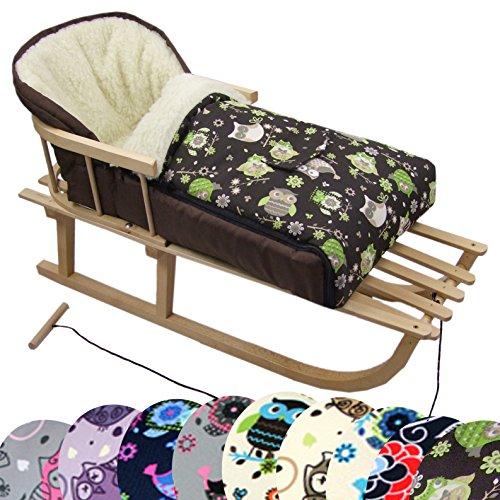 BambiniWelt Kombi-Angebot Holz-Schlitten mit Rückenlehne & Zugseil + universaler Winterfußsack (108cm), auch geeignet für Babyschale, Kinderwagen, Buggy, aus Wolle im Eulendesign (Eule $14)