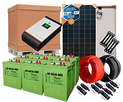 Kit Solar PlusEnergy 48V 2.000W/10.000W Día / Batería UP-GC16 600Ah + Inversor Multifunción 5kva + Regulador MPPT 80A