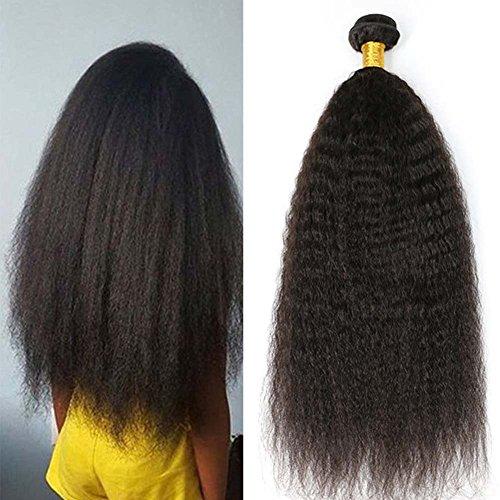 Moresoo 12pouces/30cm 1 Bundle Humain Extensions Kinky Straight Cheveux Raides Trame Bresilien Meches Naturel Vierges Hair Weft 100gram/pack Naturel Noir 1B