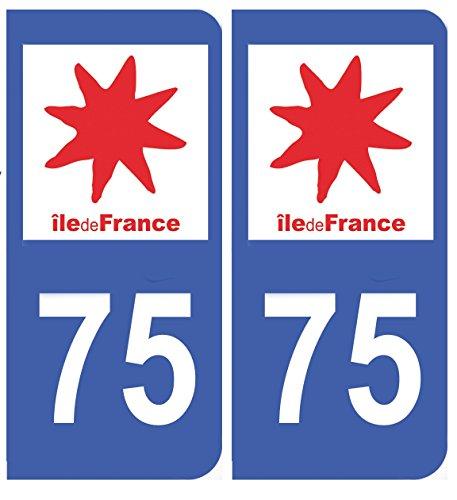 universel Autocollant Plaque immatriculation Auto département 75 Paris