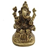 Ganesha Idol Home Temple Decor Mandir Room Decoration Accessories Indian Hindu Lord Sri Ganesh Diwali Pooja Ganpati ji Murti Puja Articles God Brass Statue Interior Decorative Showpiece - Golden