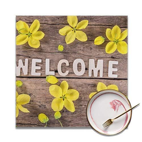 Architd woord welkom met de lente gele bloem op houten achtergrond Placemat tafelmatten plaats mat gemakkelijk te reinigen Stain Resistant Placemats voor keuken dineren Set van 4 aangepaste