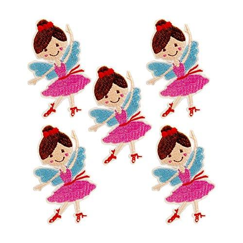 XUNHUI 5 parches bordados de flores de bailarina para niñas, hierro sobre ropa, parche bordado