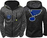 DFR-lumb Top Veste pour homme – Hockey Wear St. Louis Blues Vêtements d'entraînement Printemps/Été Zip Cardigan Vêtements de sport – Cadeau pour adolescents (Couleur : Gris, Taille : Large)