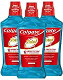 Colgate Total Alcohol Free Mouthwash for Bad Breath, with CPC (Cetylpyridinium Chloride), Antibacterial Formula, Peppermint - 1L, 33.8 fluid ounce (3 Pack)