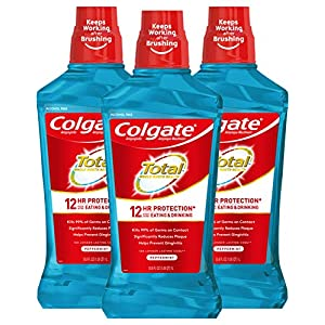 Colgate Total Alcohol Free Mouthwash for Bad Breath, with CPC (Cetylpyridinium Chloride), Antibacterial Formula, Peppermint – 1L, 33.8 Fluid Ounce (3 Pack)