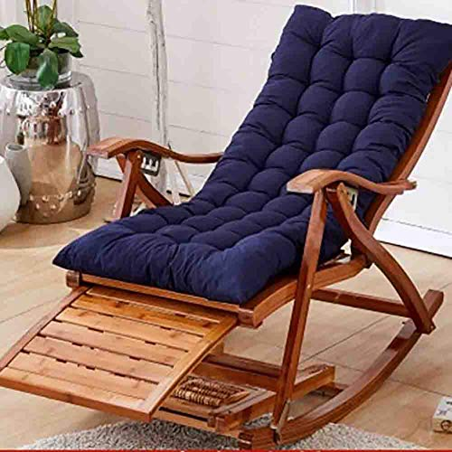 YB&GQ Bamboo Rocking Chair,Patio Padded Folding Lounge Chair,Adjustable Reclining Armchair Outdoor Furniture For Deck Patio Beach Yard Blue A 47x95x74cm(19x37x29inch)