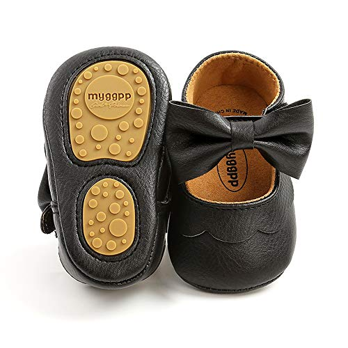 RVROVIC Baby Girls Shoes Soft Sole Mary Jane Flats Princess Dresses Shoes PU Cute Bow Prewalker (6-12 Months Infant, A-Black)