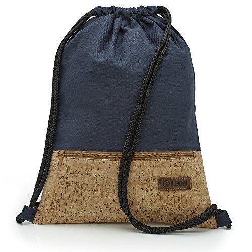 By Bers LEON Turnbeutel mit Innentaschen in Kork oder Schlange -DesignRucksack Tasche Damen Herren & Teenager Gym Bag Draw String (Kork_Blau)