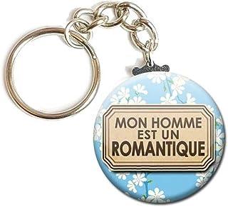 Porte Clés Chaînette 3,8 centimètre Mon Homme est un Romantique Idée Cadeau Accessoire Anniversaire Noël Remerciement Sain...