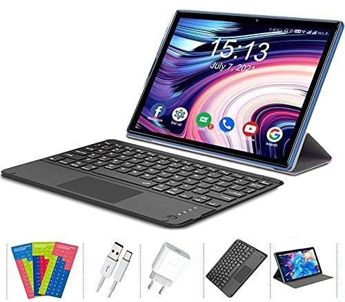 Tablet 10 Pollici Android 10 4G LTE 5G WIFI, 6GB RAM+128GB ROM (TF 512 GB),Octa-Core,Batteria 7000 mAh,Tablet con Doppia Fotocamera, 1920 * 1200,Doppia SIM/GPS/Bluetooth/Tipo C con Tastiera Tattile