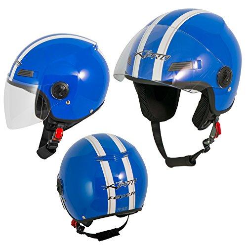 Motorradhelm Motorrad Roller Offenes Jet Helm Viser ECE 22 05 Blau L