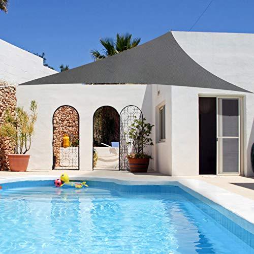 RATEL Sonnensegel Grau 5 × 5 × 5 m Dreieck, wasserdicht Windschutz mit 95% UV Schutz Sonnenschutz für Draußen, Patio, Garten Terrasse Camping