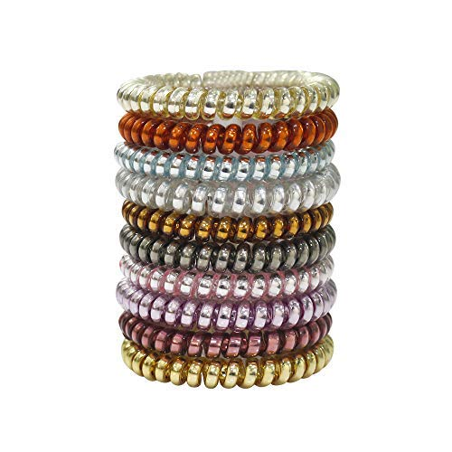 URBEST 10 Pcs Metallic Hair Coils, Tie Hair, Spiral Hair Ties, No Crease Hair Ties, Coil Ponytail Holder for Girls and Women (Medium, Multi-Colors)