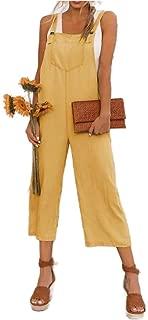 XINHEO Women Pocket Overalls Ankle Pants Cotton Blend Loose Bib Playsuit