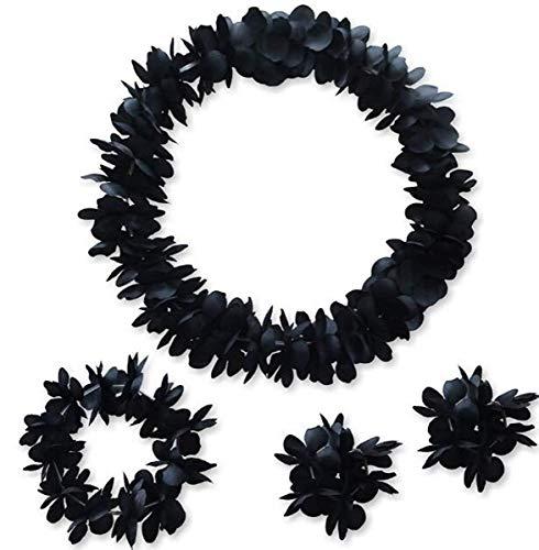 NFACE Hawaiian Luau Flower Leis Jumbo Collana Braccialetti Set Fascia Nera