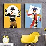 ganlanshu Joker Playing Cards Cuadro En Lienzo decoración del hogar con póster y Sala de estar60X90cmx2Pintura sin Marco