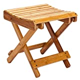 MASTLU Folding Bamboo Stool Folding Step Stool for Adults & Kids' Step Stools, Small Foldable Step Stool Use in Kitchen Garden Camping - Holds up to 180Lbs (Coffee Color, (15 x 11 x 1.7))