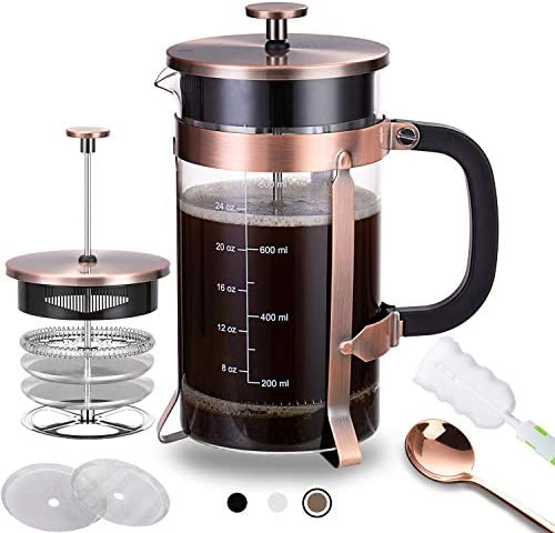 French Press Coffee Maker 34 oz with 4 Filters 304 Durable Stainless Steel Heat Resistant Borosilicate product image