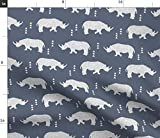 Spoonflower Stoff – Geometrisches Nashorn dunkelblau Geo