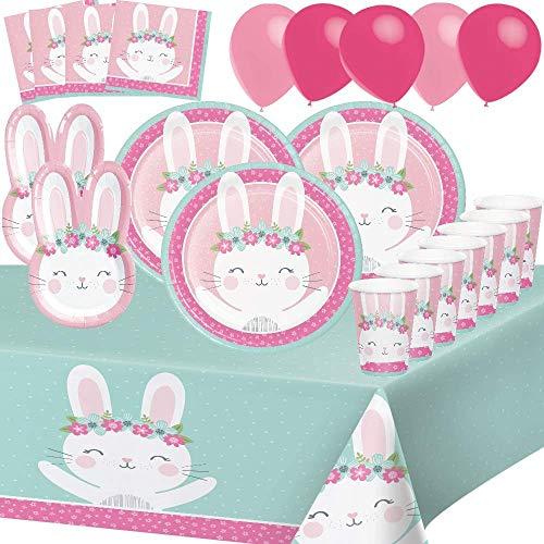 Party Shop Celebrate every day Kit de cumpleaños de Conejo 8 Niños Niña Decoración Mesa 1 Mantel 8 Platos 2 Platos de Conejo 8 Tazas 16 servilletas