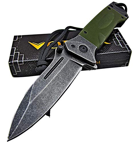 VORTEK Ultra Smooth Fast One Hand Opening Heavy Duty Tactical Folding Pocket Knife: 8Cr13MoV Razor Sharp Blade - LMF Style Pommel with Paracord Lanyard
