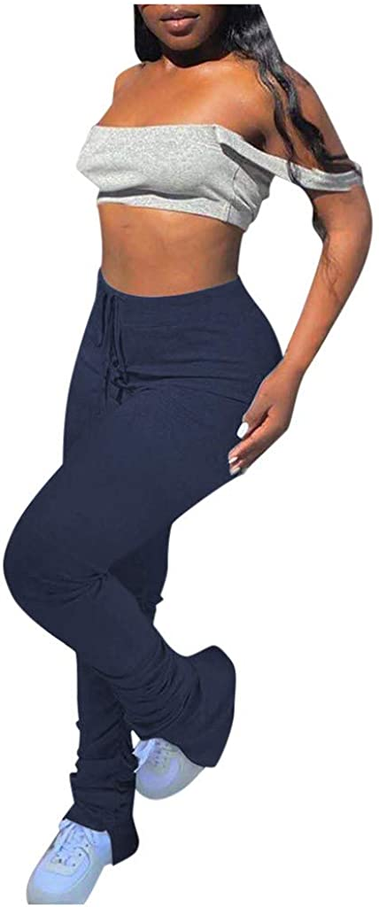 Hessimy Joggers for Women,Women Casual Drawstring Jogging Jogger Pants Colorblock Stretch Bodycon Lounge Sweatpants