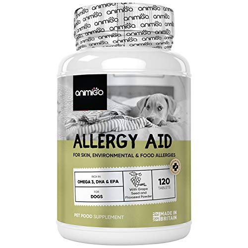Suplemento para Alergias en Perros 120 Comprimidos, Alergias Cutáneas, Ambientales y Alimentarias