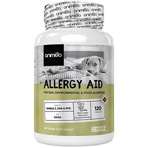 Suplemento para Alergias en Perros 120 Comprimidos - para Alergias Cutáneas, Ambientales y Alimentarias, Combate Alergias Estacionales en Perros, Rico en Omega 3, EPA y DHA