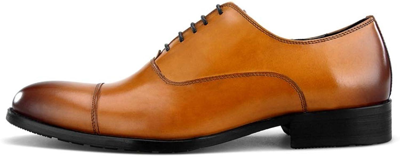 Rui Landed Oxford for Men Formelle Schuhe Schnürschuhe Echtes Leder Unifarben Cap Toe Business Europa Und Amerika Flacher Mund Spitz Nachtclub (Farbe   Braun, Gre   45 EU)
