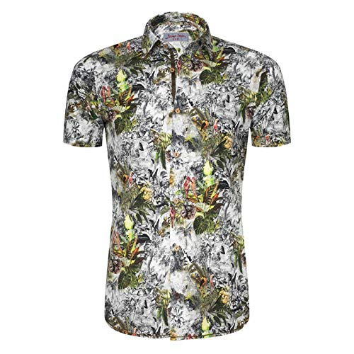 Signum Hemd - Rugged Kurzarmshirt mit exotischem Print Herrenhemd - Rifle Green