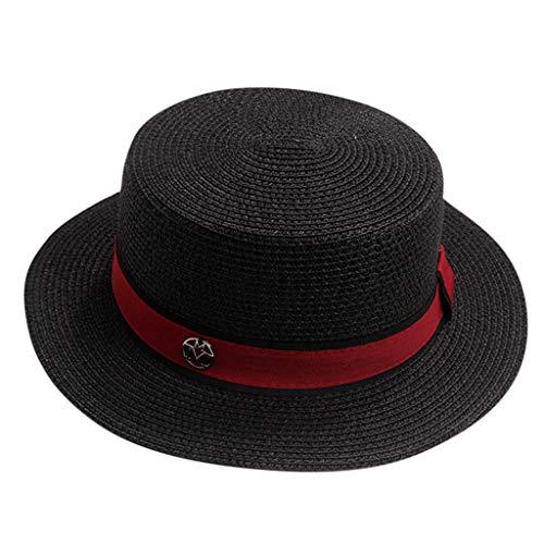 DOLDOA Hut Damen Sommer,Damen Damen Sommer England Zylinder Sonnenblende Sonnen Strand Hut (Schwarz)