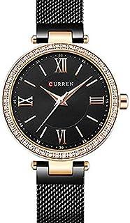 Curren 9011 Quartz Movement Round Dial Stainless Steel Strap Waterproof Women Wristwatch - Black Water Resistance: 30m