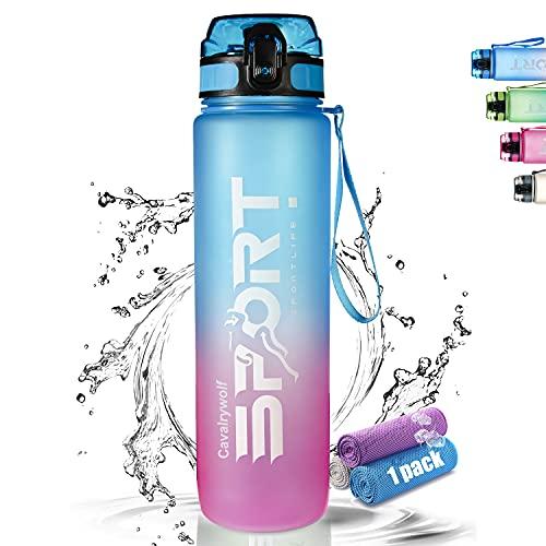 Cavalrywolf Trinkflasche 1000ml, Wasserflasche für Sport [ BPA-Frei ] [ Auslaufsicher ] [ Matte Berührung ] [ Leicht,Nachhaltig ] Fitness, Uni, Fahrrad, Outdoor - Sportflasche aus Tritan - Gradient