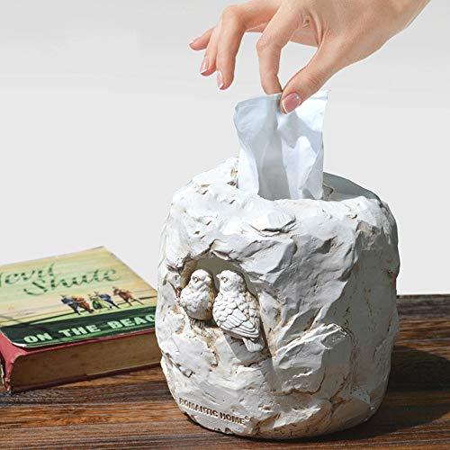 Resina de la vendimia tejido facial dispensador de papel caja de la cubierta del sostenedor, Imitación textura de la roca de la servilleta del organizador del sostenedor, lindo Titular pájaros del amo