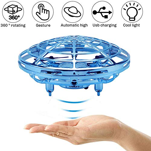 LYHLYH Mini UFO Drone Jouet, Main contrôlée Drone pour Les Enfants Mini UFO Volant Ball Jouets Infrarouge à Induction avec Rotation à 360 ° de Noël/Anniversaire de Vacances Cadeau de Jouets,Bleu